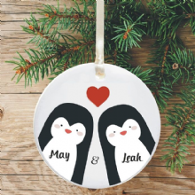 Personalised Christmas Tree Decoration - Penguin Couple Heart Design